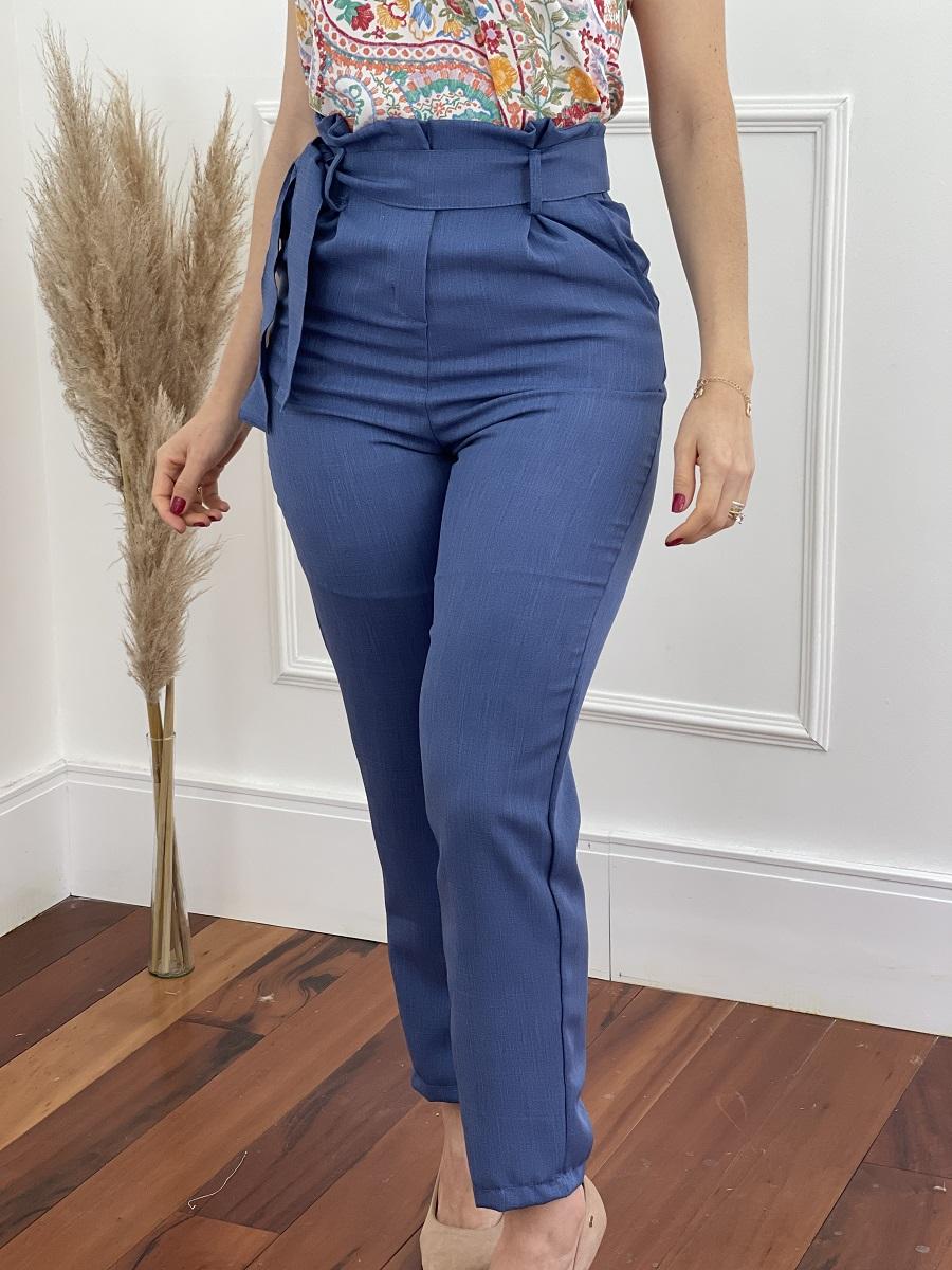 Calça Skinny em Poli-linho Clochard Azul