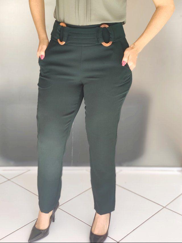 Calça Skinny Fivela Verde