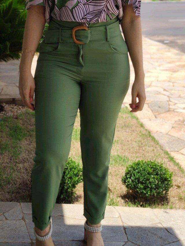 Calça Skinny Pesponto Cós Verde