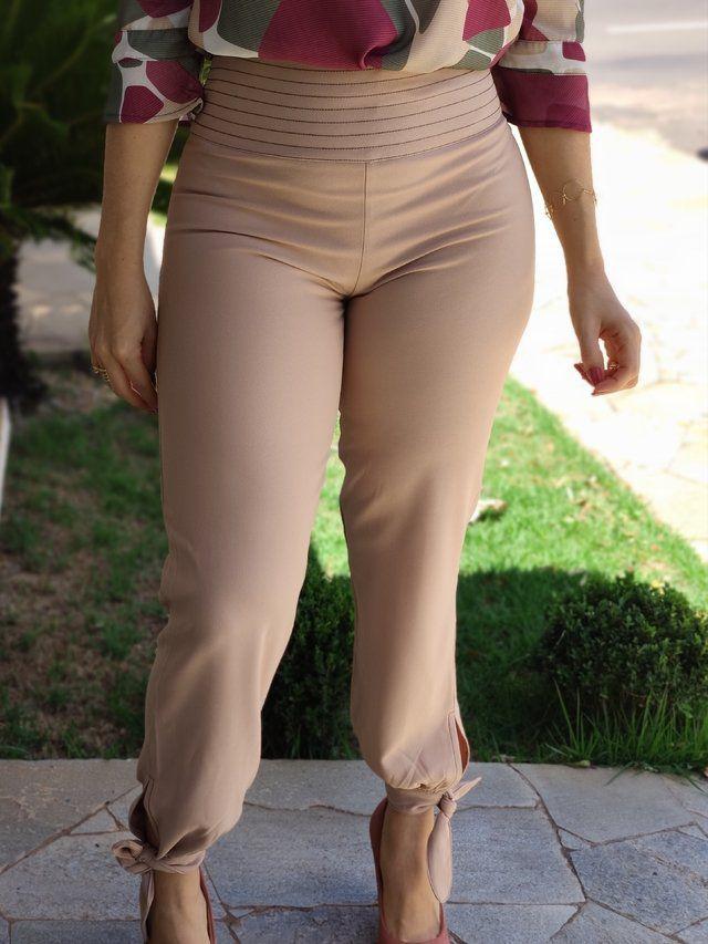 Calça Skinny Pesponto Laço Barra Nude