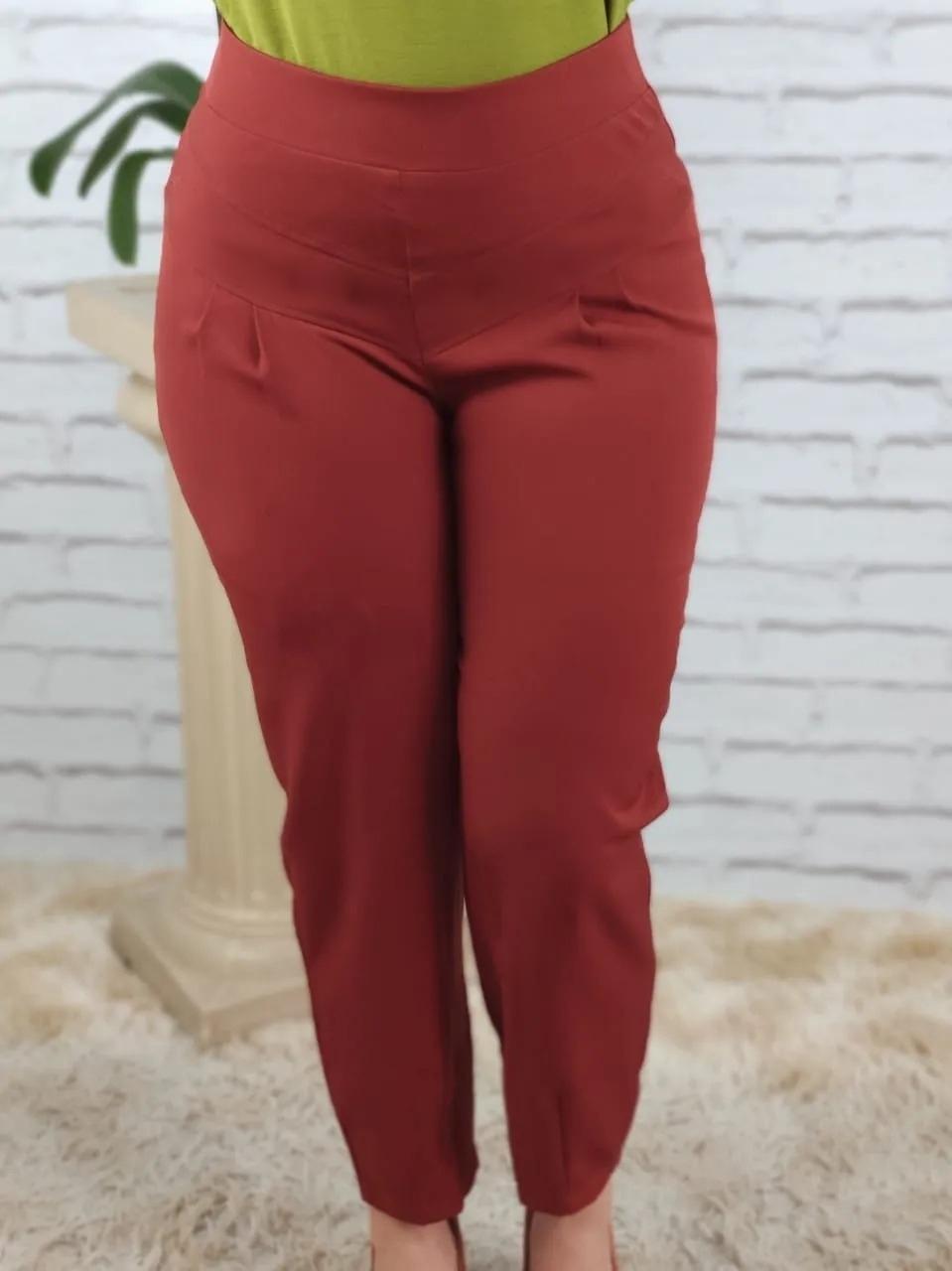 Calça Skinny Pespontos Frontais Vermelho Escuro