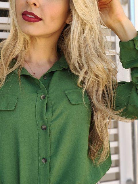 Camisa Manga Longa Bolsos Verde