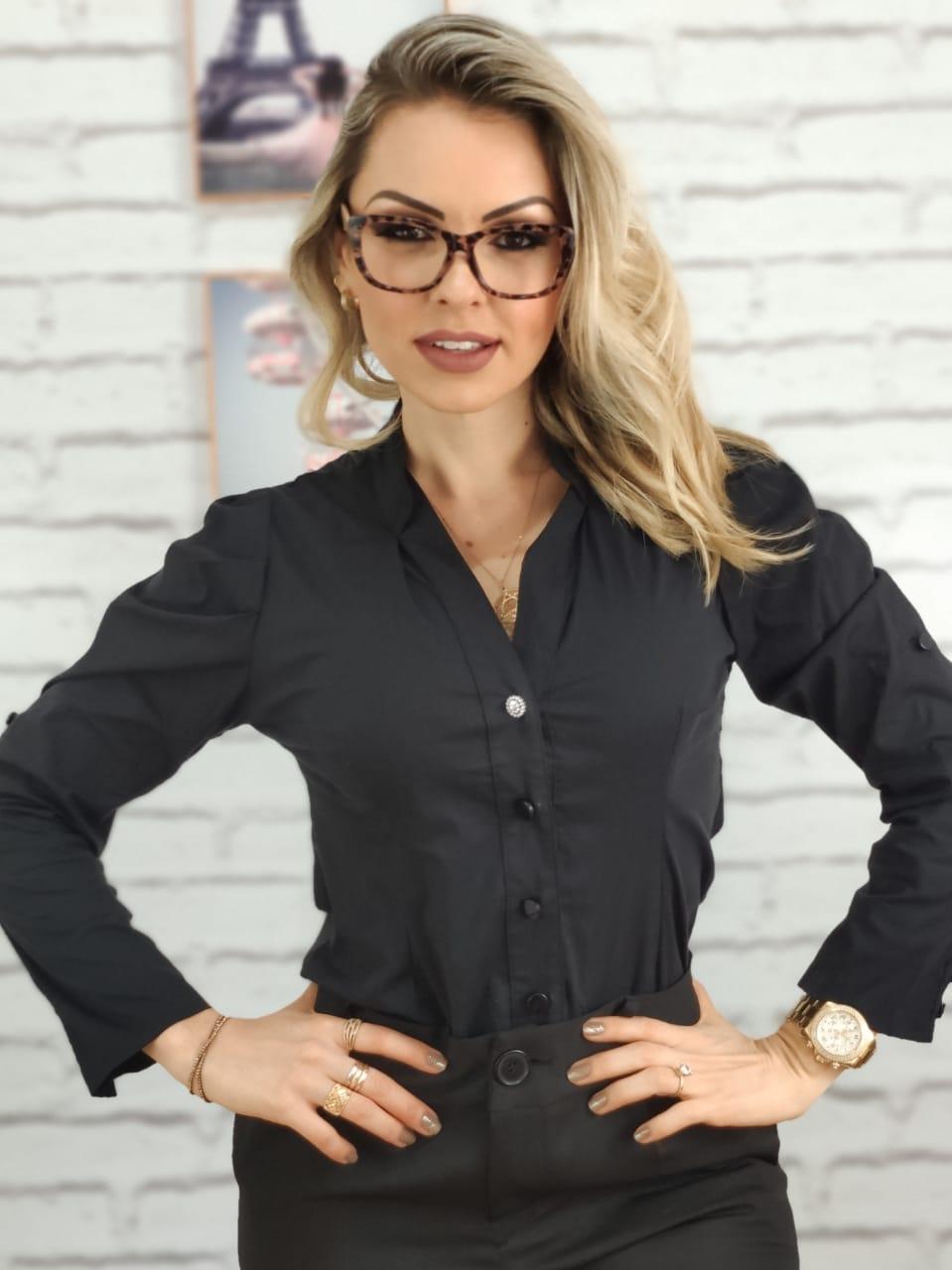 Camisa Manga Longa Botão Strass Preta