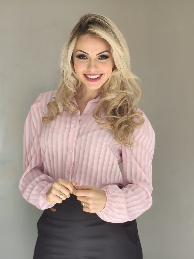 Camisa Manga Longa Illusion Rosa