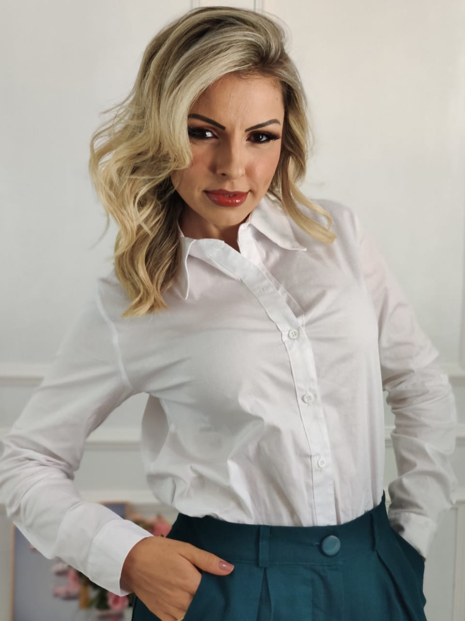 Camisa Manga Longa Lisa Branca