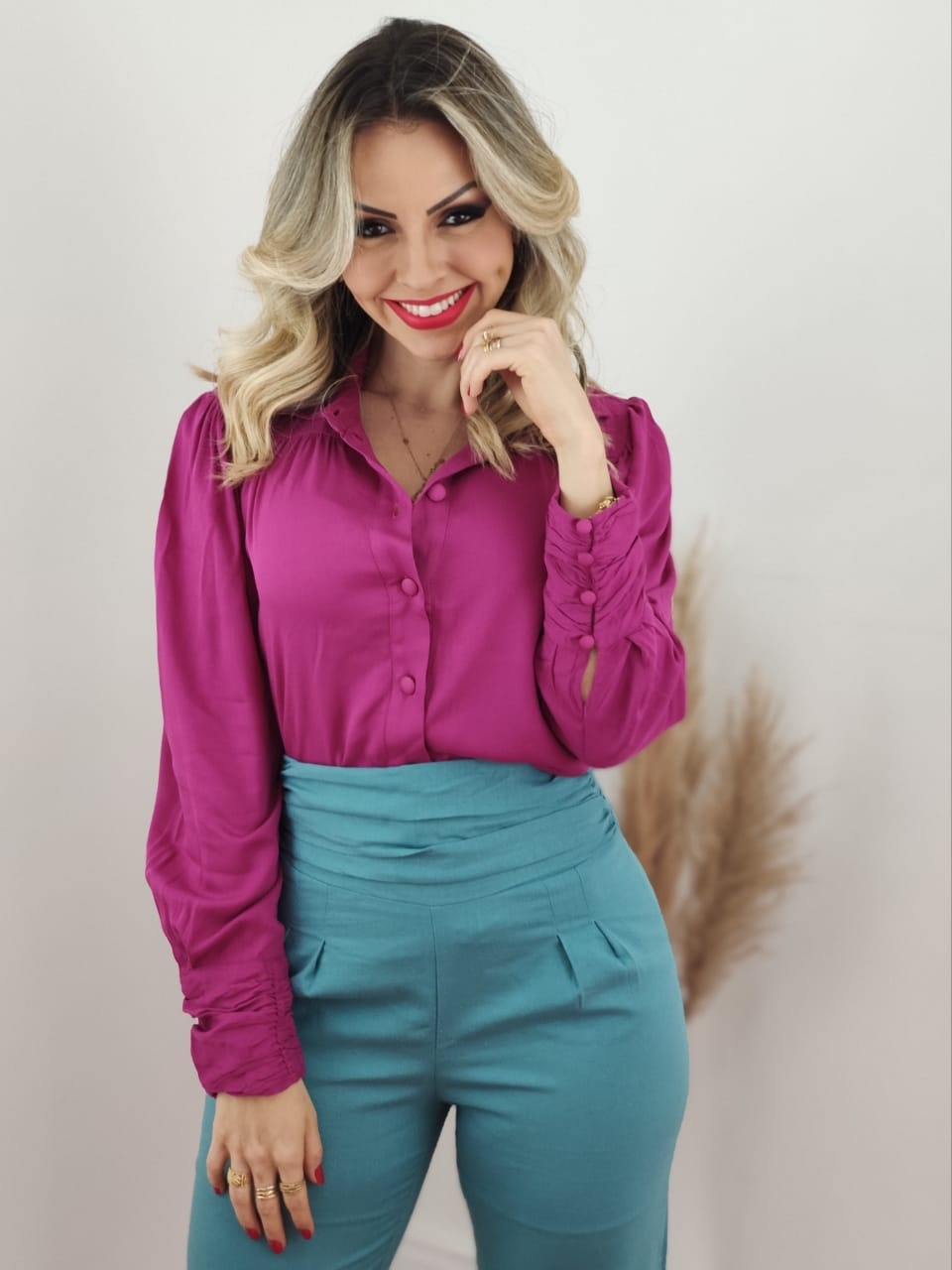 Camisa Manga Longa Viscose Botões Punho Pink