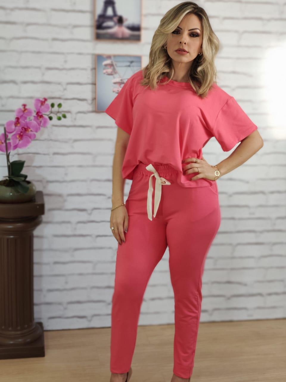Conjunto Calça Liso Rosa