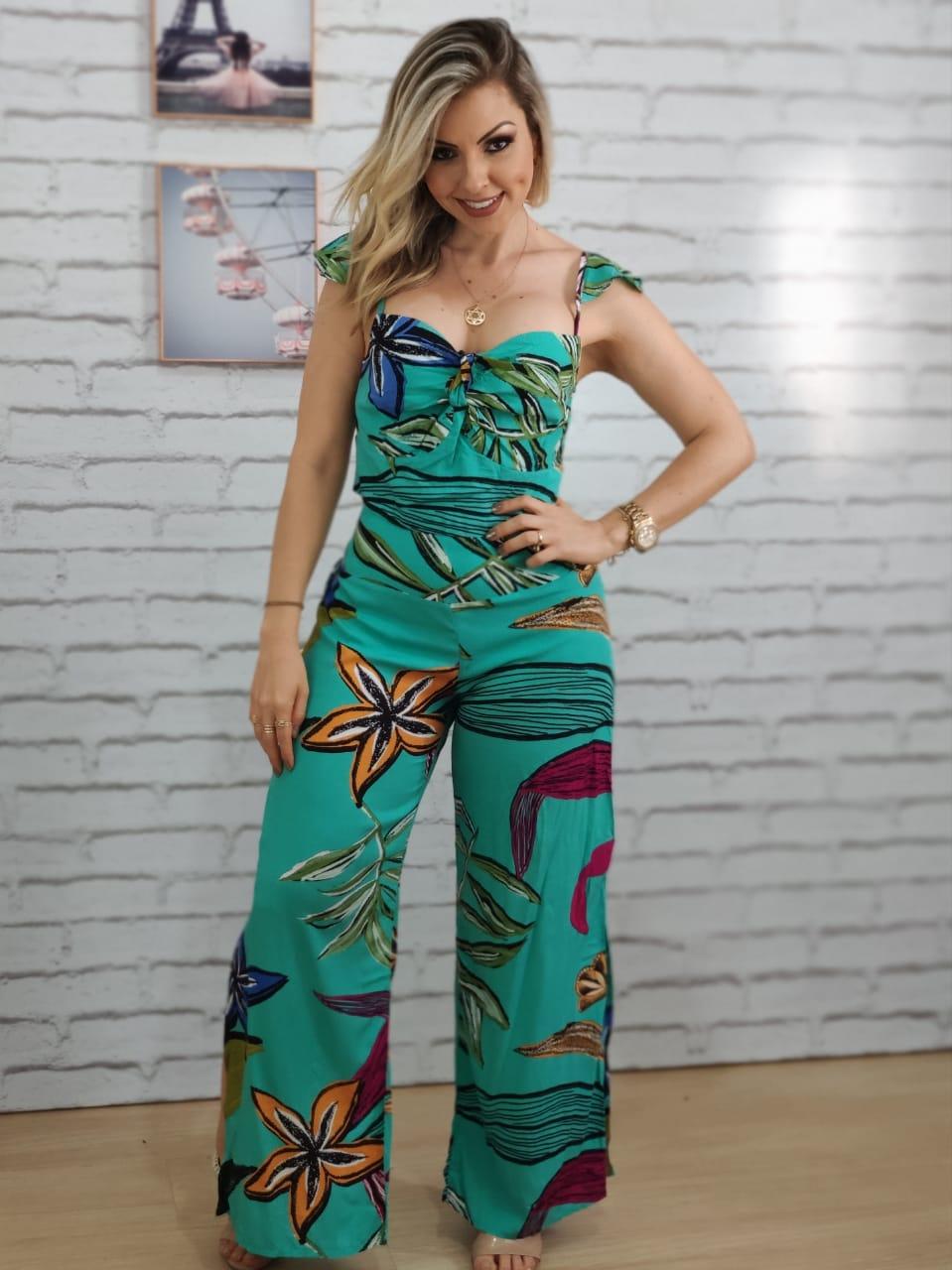 Conjunto Cropped + Pantalona Estampado Verde