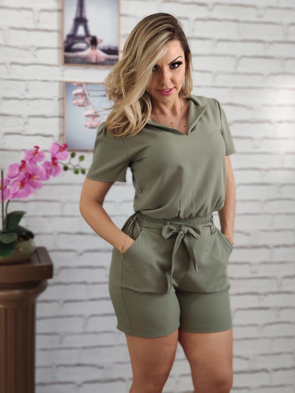 Conjunto Cropped + Shorts Verde