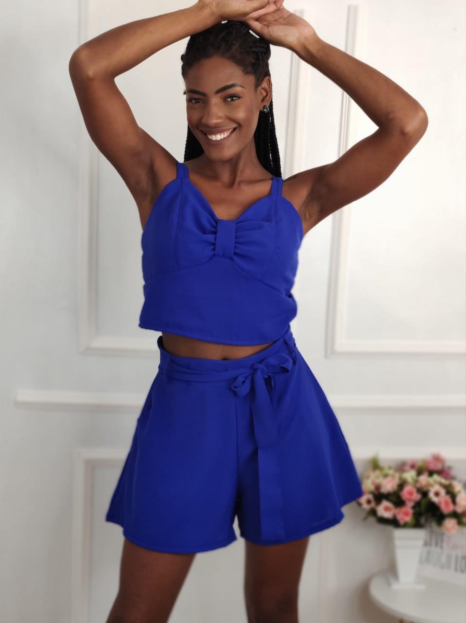 Conjunto Shorts com Cropped Azul