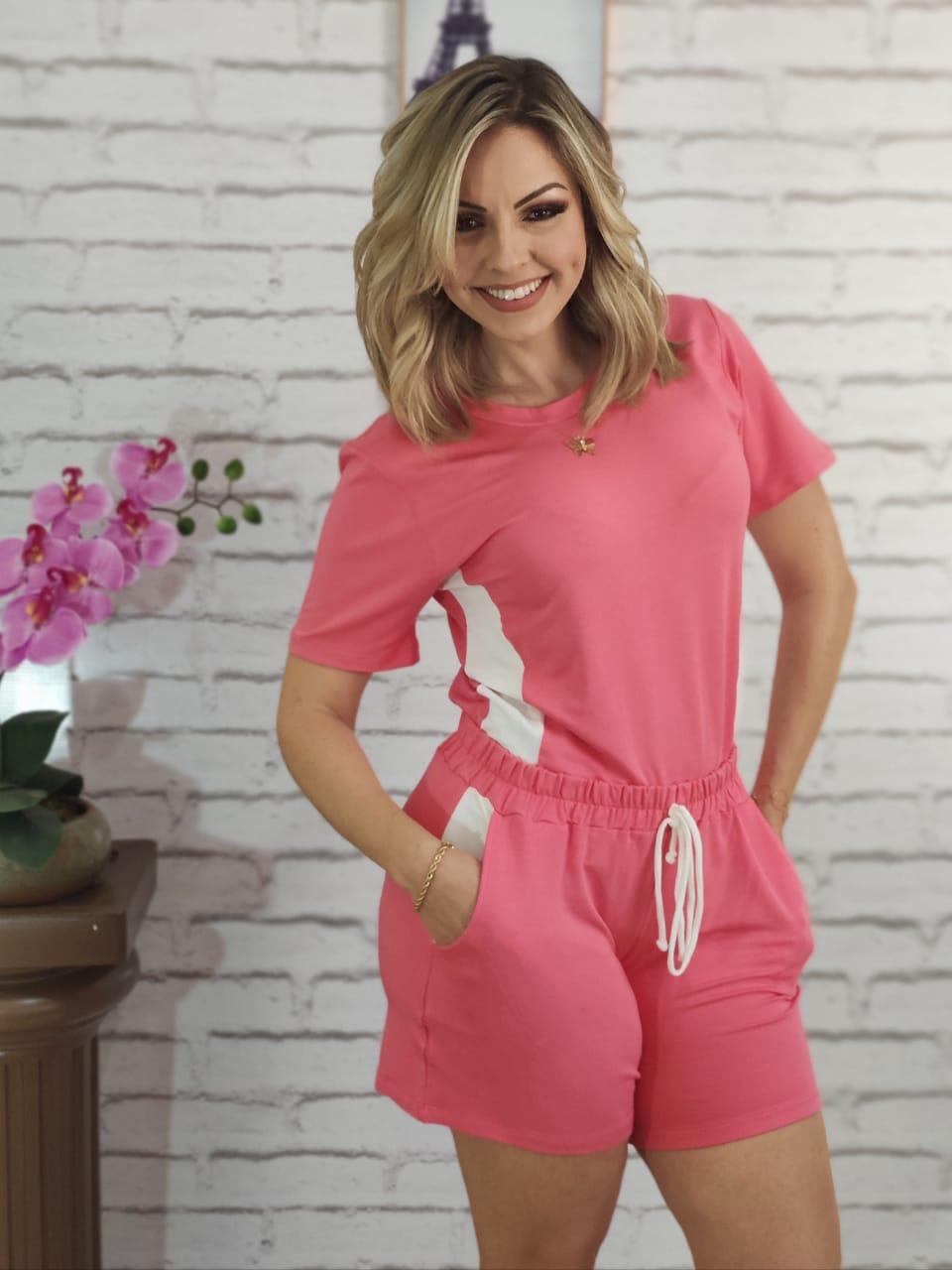 Conjunto Shorts Listrado Rosa