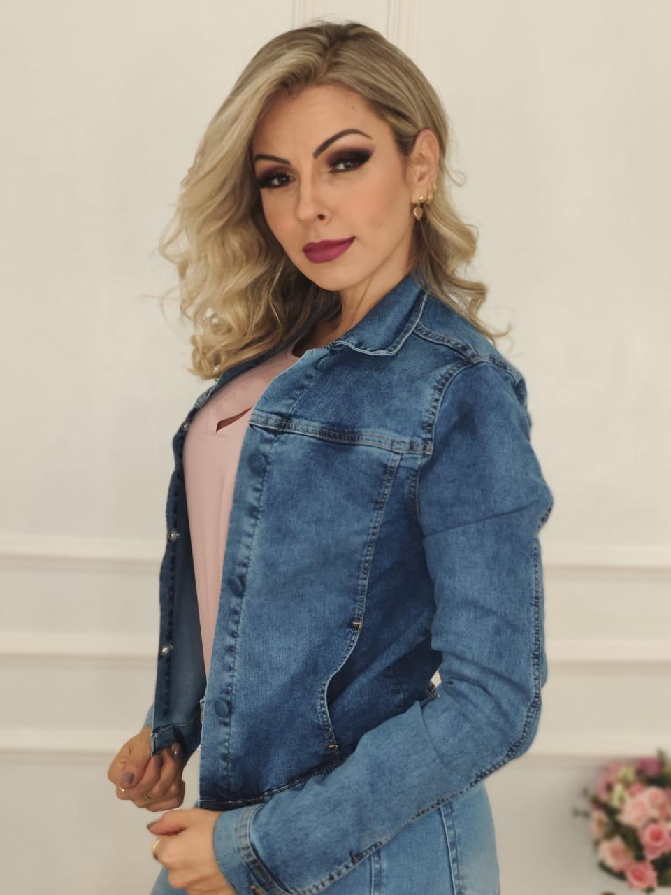 Jaqueta Jeans Claro Botões Encapados