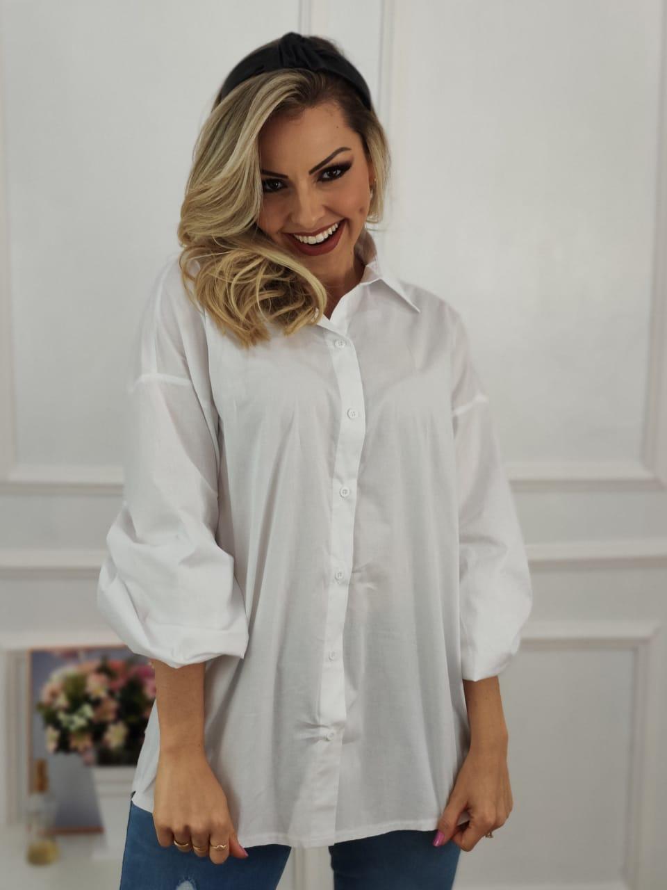 Max Camisa Manga Longa Bufante Branca