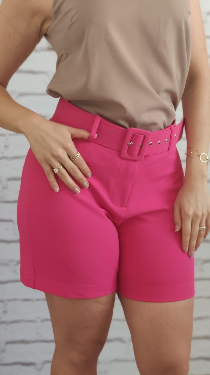 Shorts com Cinto Encapado Pink