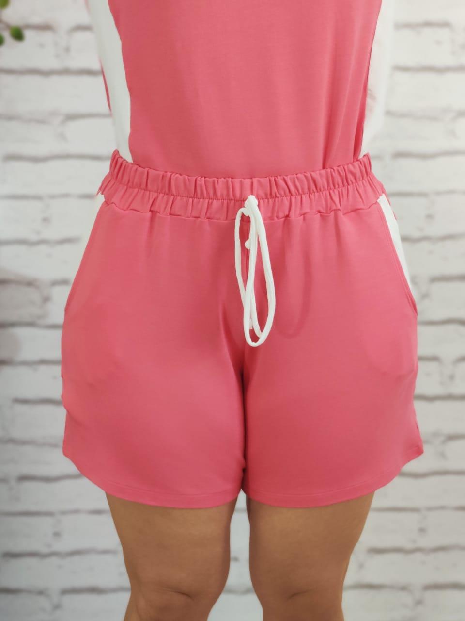 Shorts Conjunto Detalhe Listra Lateral Rosa