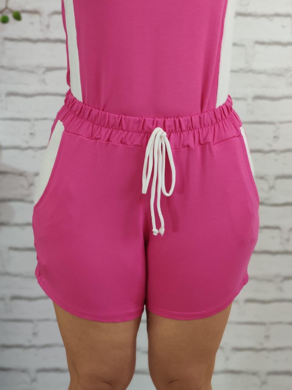 Shorts Conjunto Detalhe Listra Lateral Pink