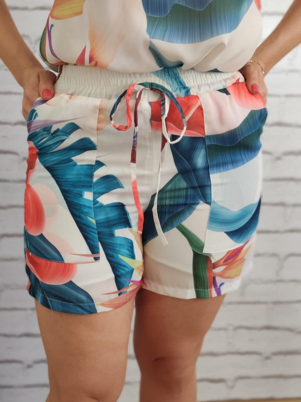 Shorts Elástico Estampado Branco