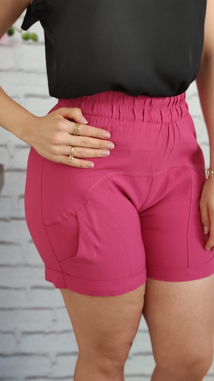 Shorts Elástico Pespontos Pink