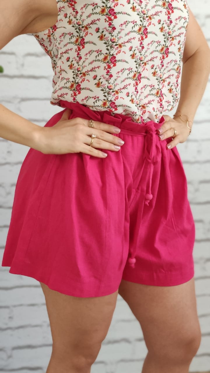 Shorts Gode Plissado Pink