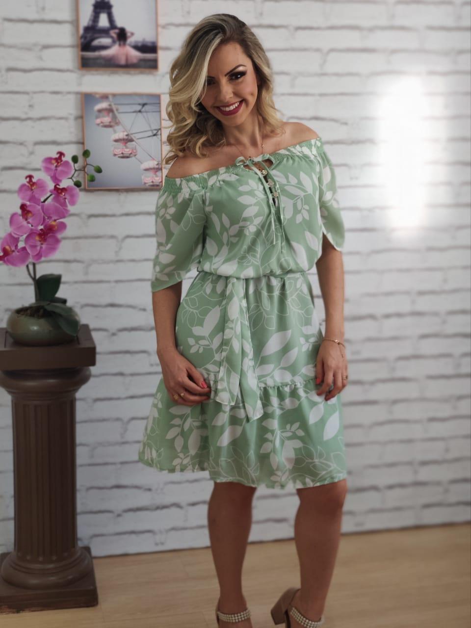Vestido Ciganinha Estampa Folhas Verde
