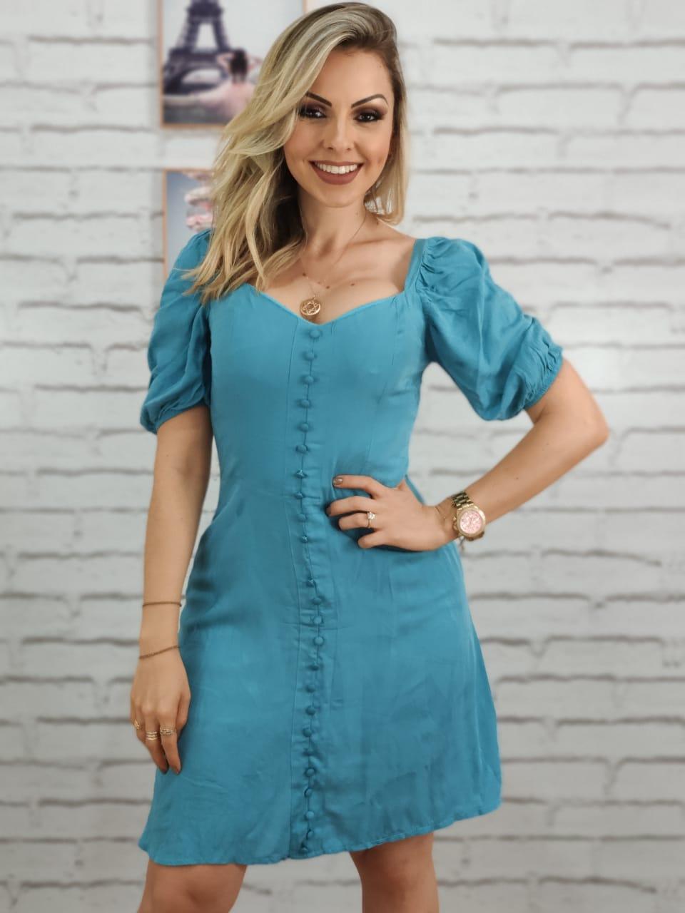 Vestido Curto Detalhe Botões Azul
