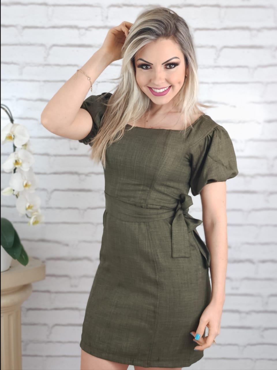 Vestido Curto Detalhe Laço Verde