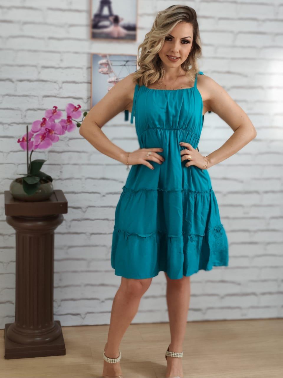 Vestido Curto Laço Alça Liso Azul
