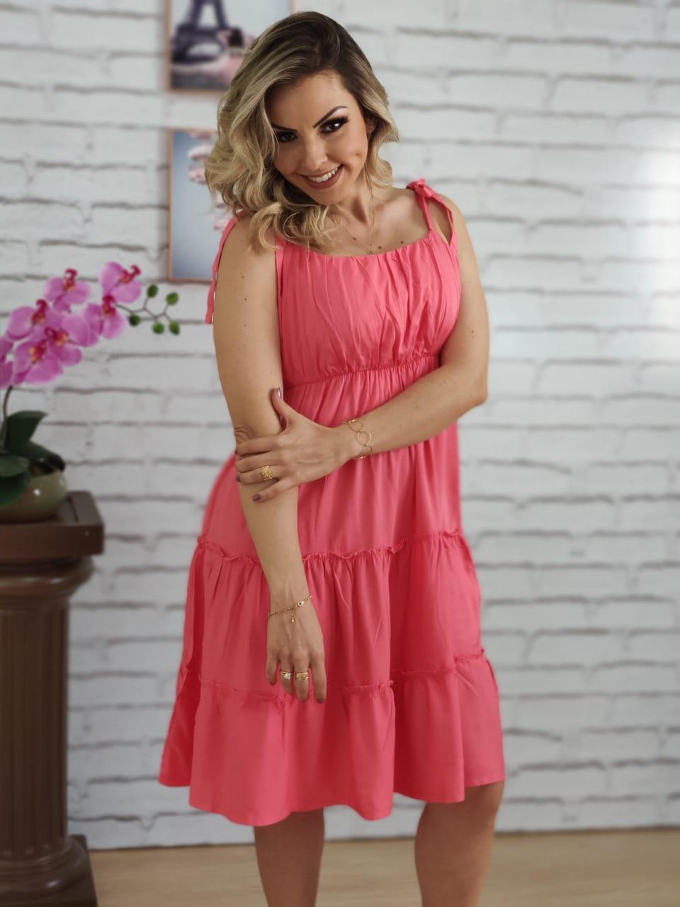 Vestido Curto Laço Alça Liso Rosa