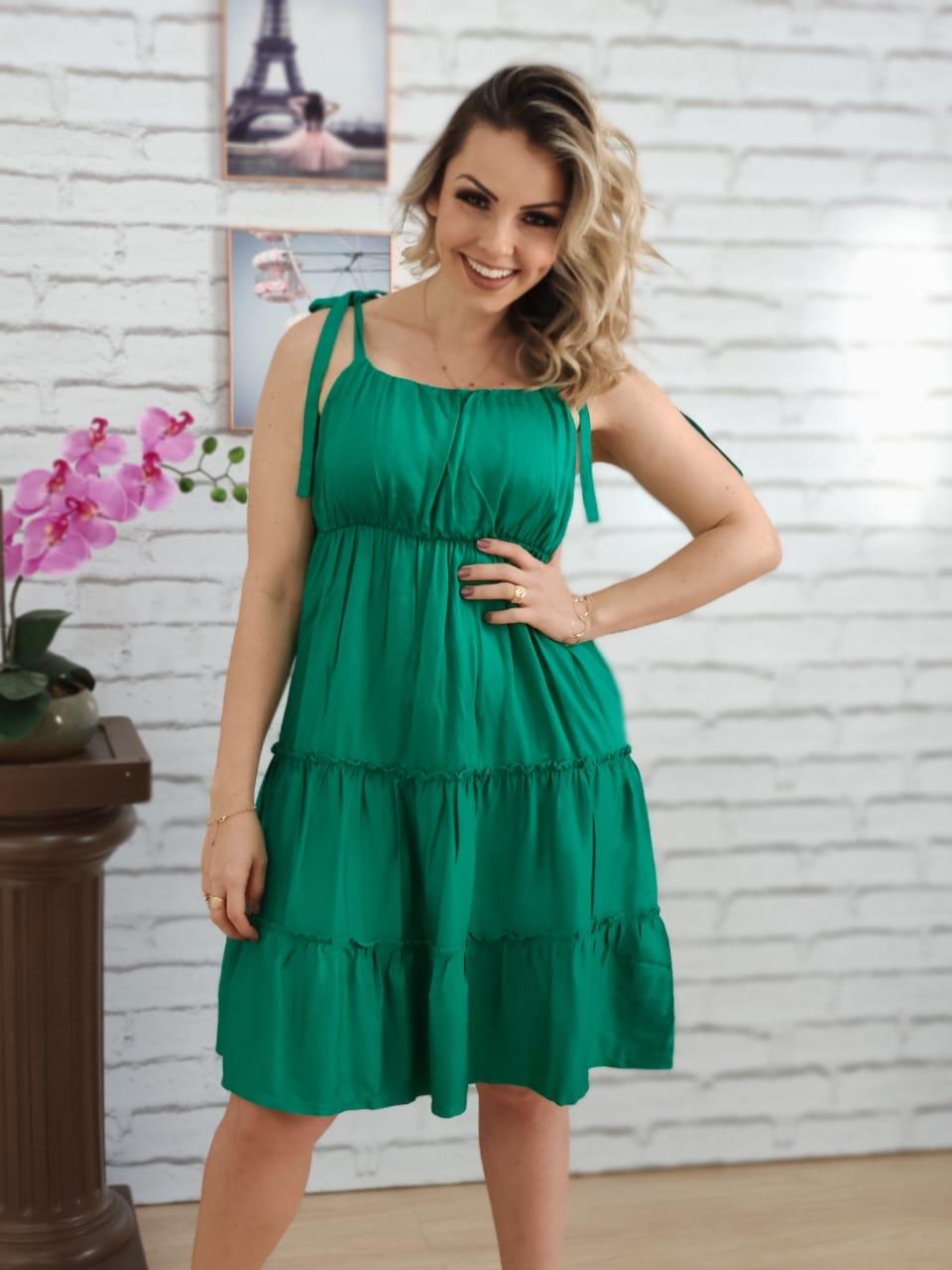 Vestido Curto Laço Alça Liso Verde