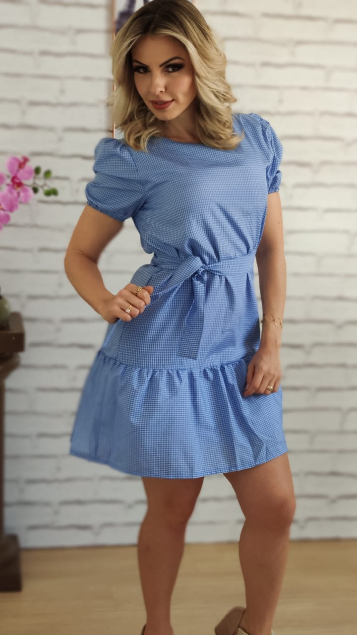 Vestido Curto Quadriculado Azul