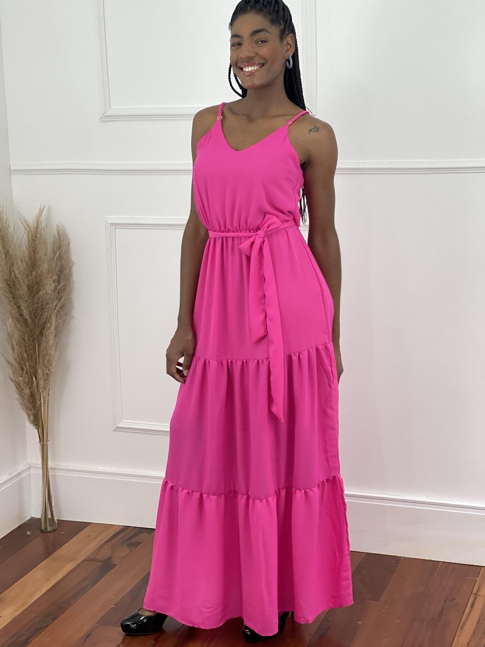 Vestido Longo Costuras Barra Pink
