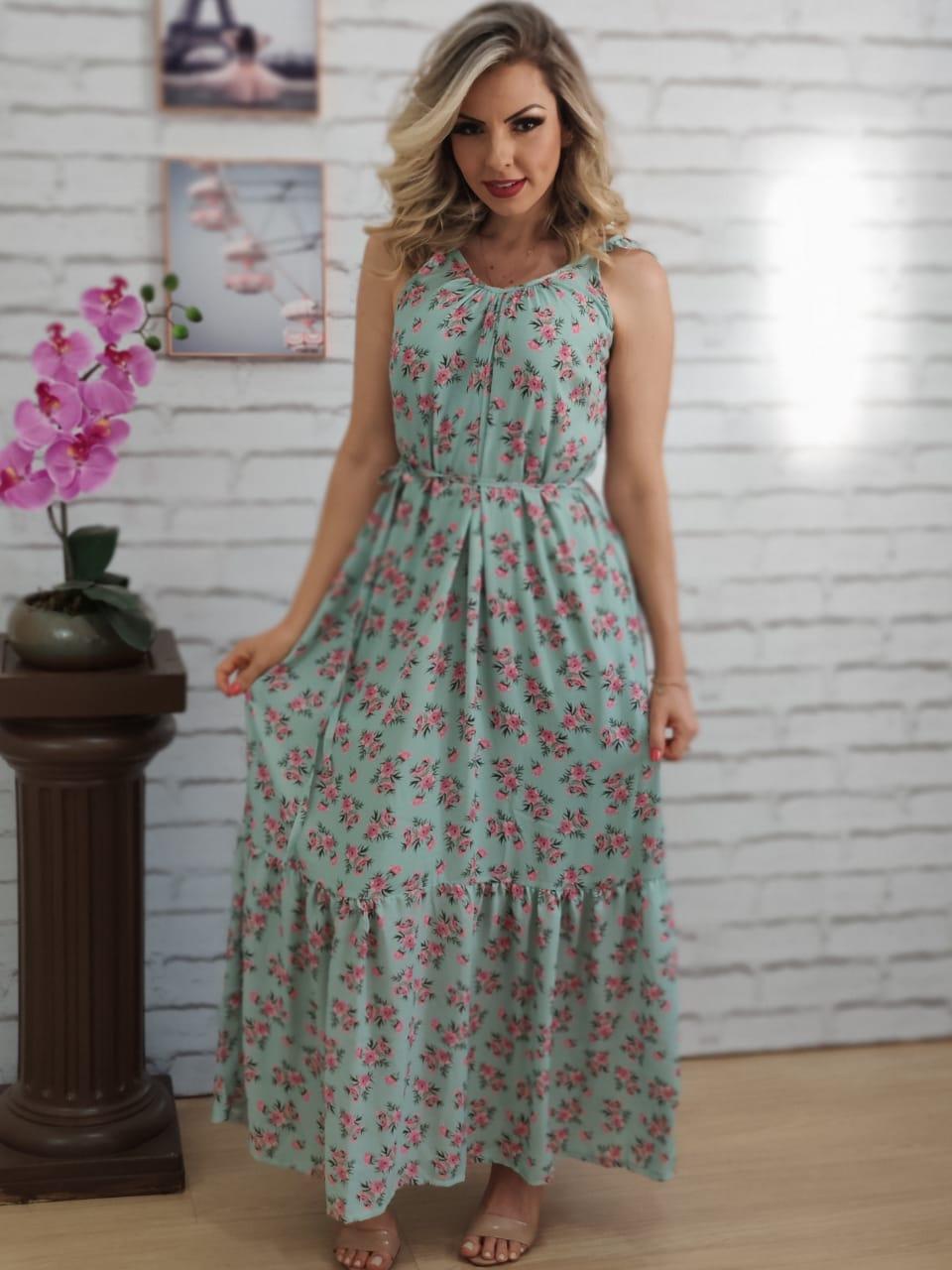 Vestido Longo Estampa Liberty Floral Verde