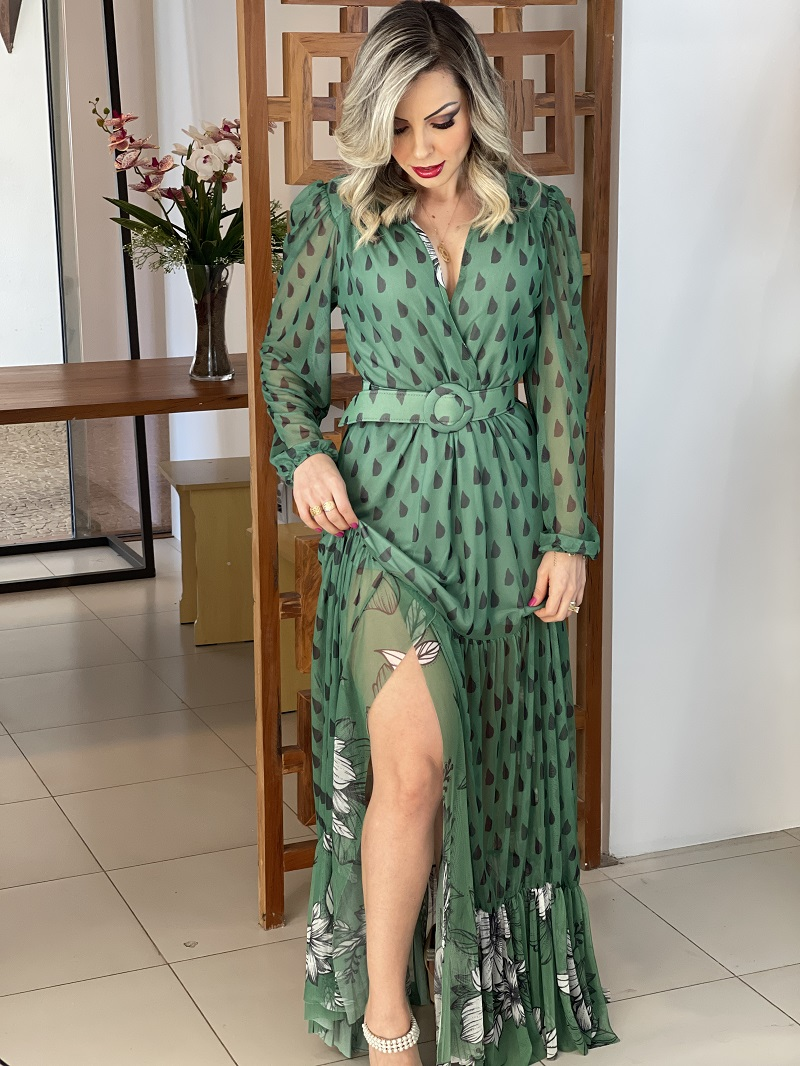 Vestido Longo Perfect Way Estampado Tule Verde