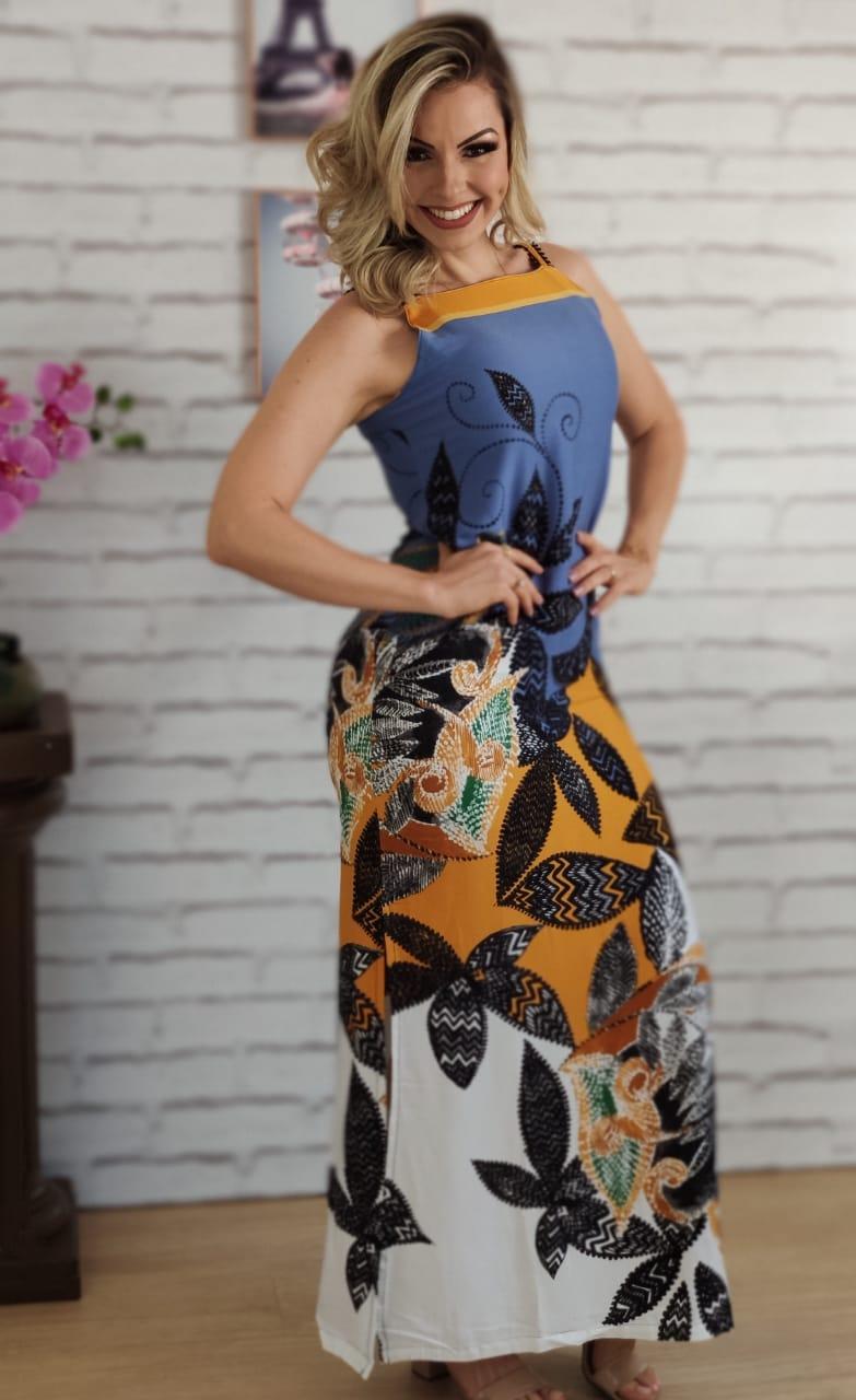 Vestido Longo Fenda Lateral Estampado Azul