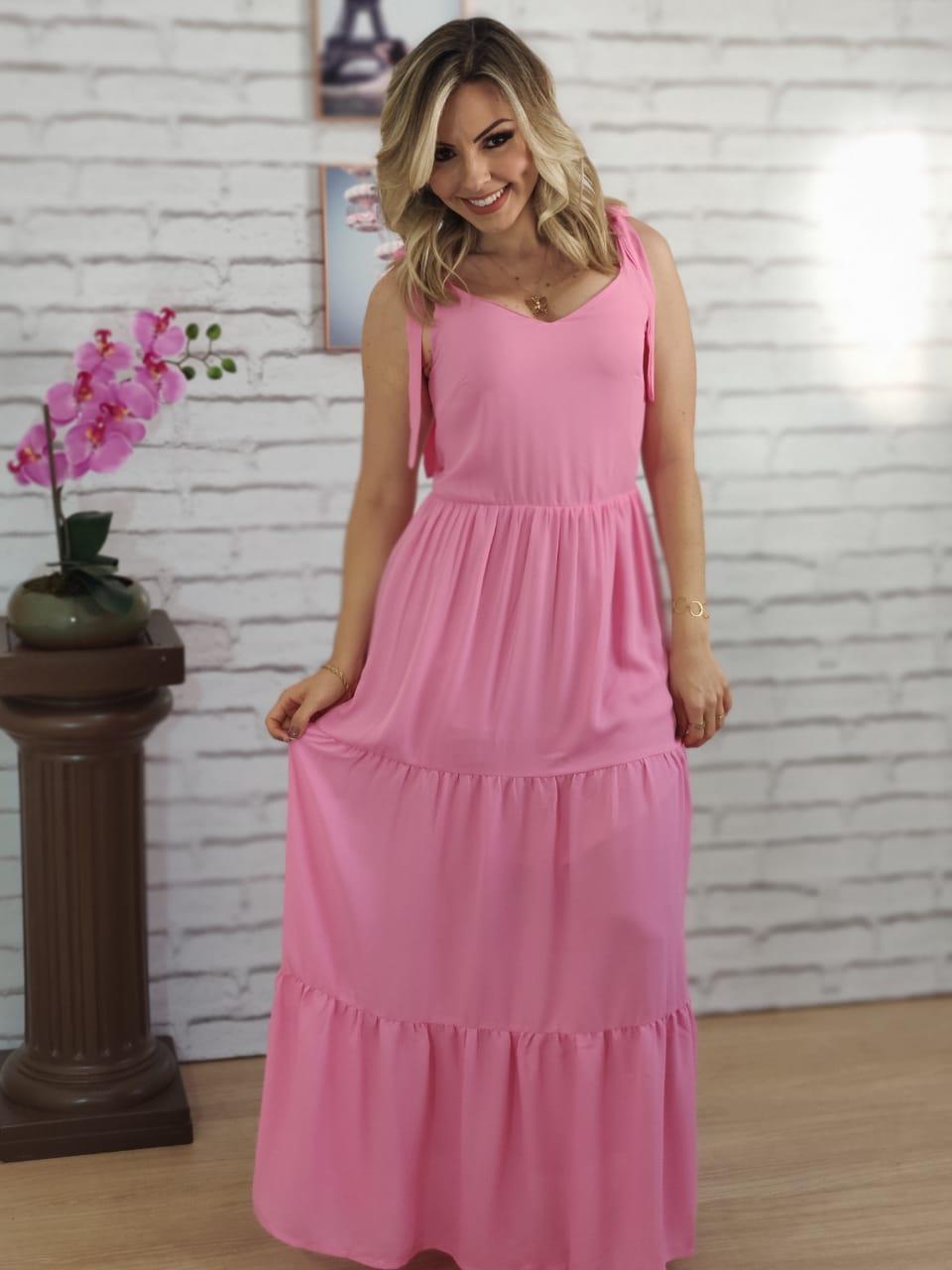 Vestido Longo Laço Alça Rosa