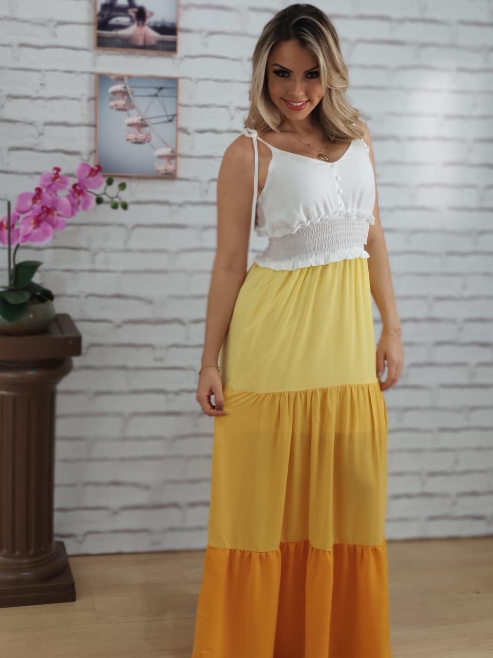 Vestido Longo Laço Alça Tricolor Amarelo
