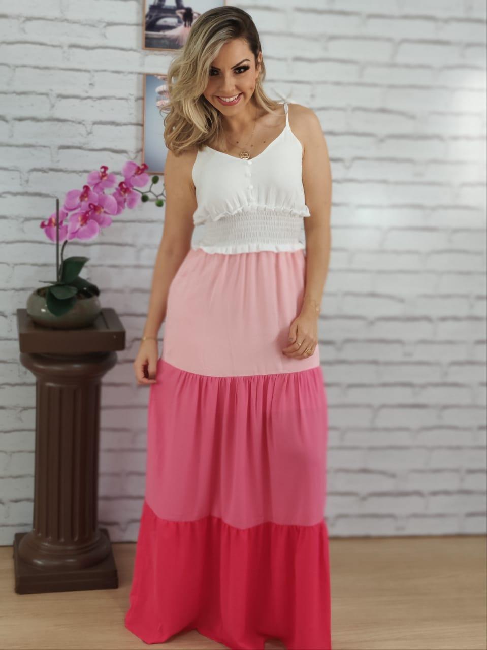 Vestido Longo Laço Alça Tricolor Rosa