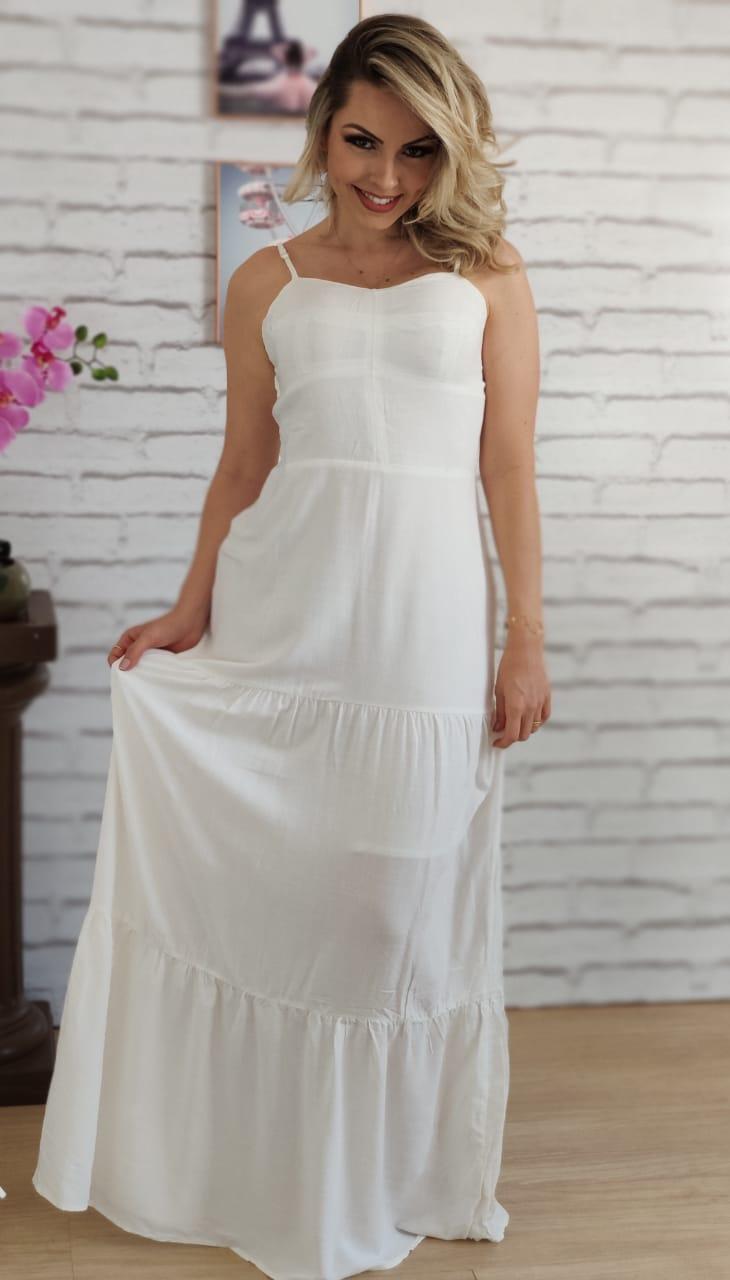 Vestido Longo Liso Branco