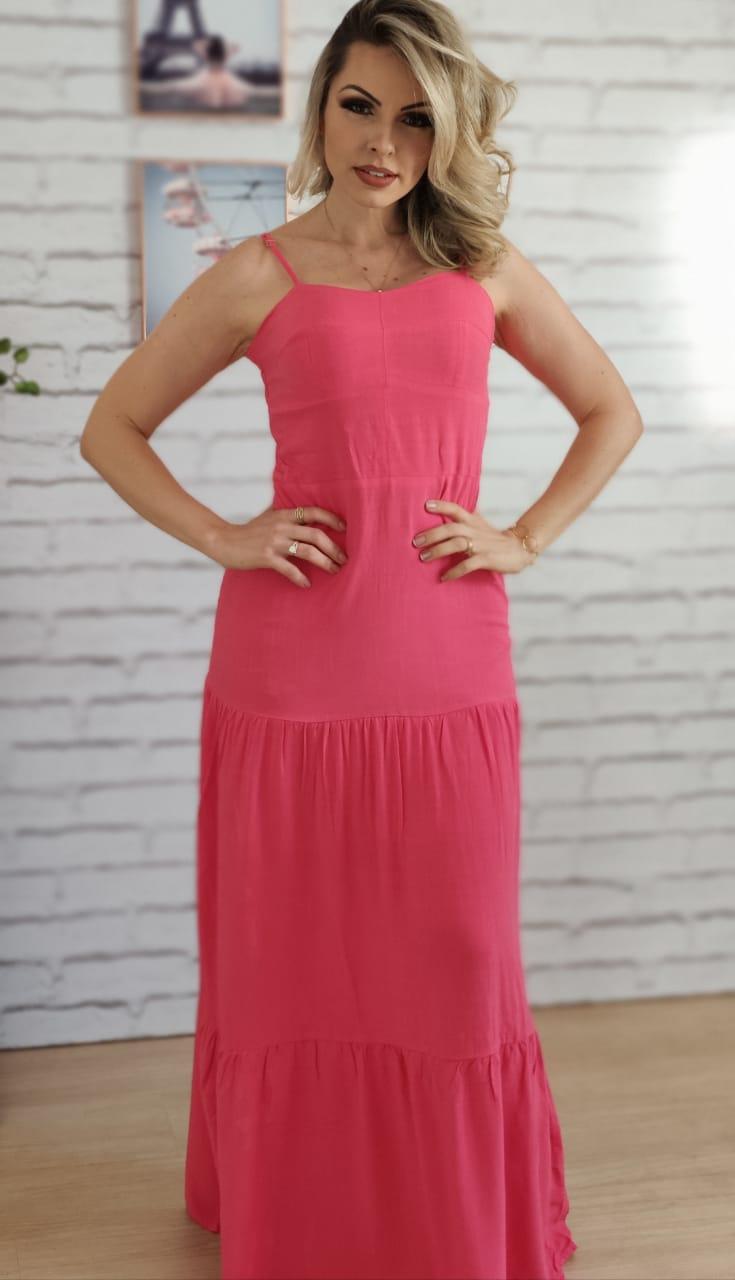 Vestido Longo Liso Rosa