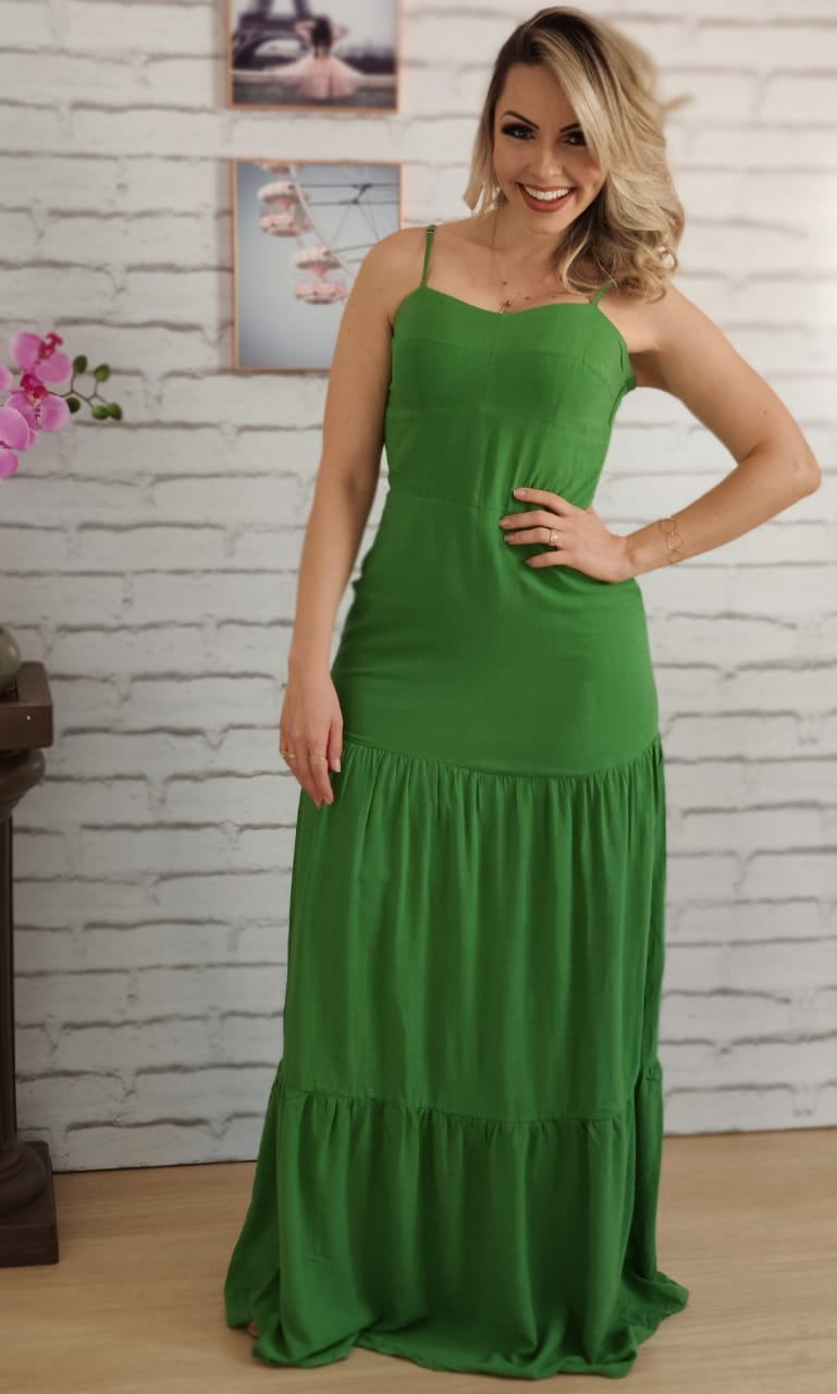 Vestido Longo Liso Verde