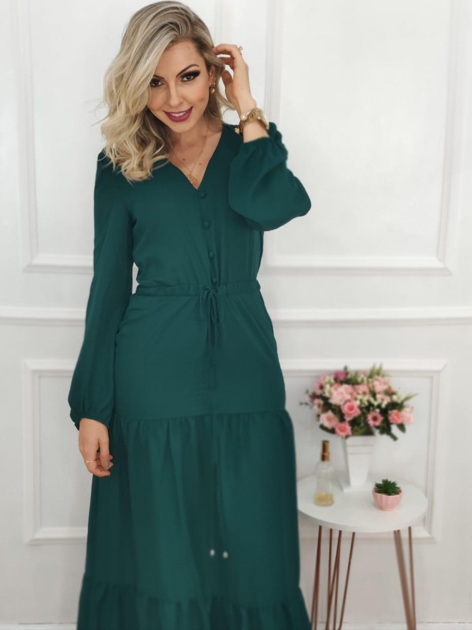 Vestido Longo Manga Longa Verde