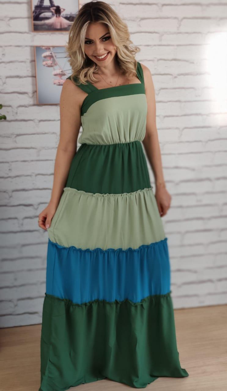 Vestido Longo Tricolor Verde