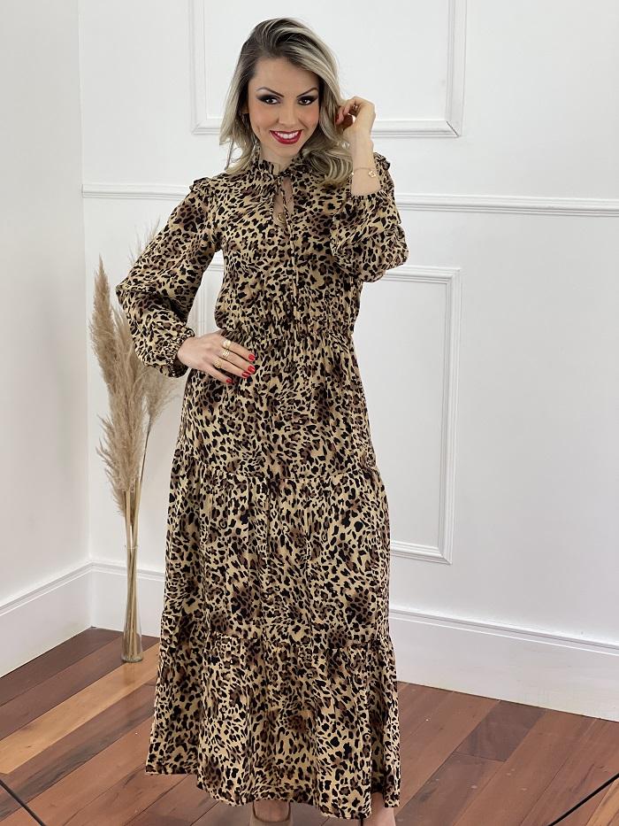 Vestido Longo Viscose Animal Print