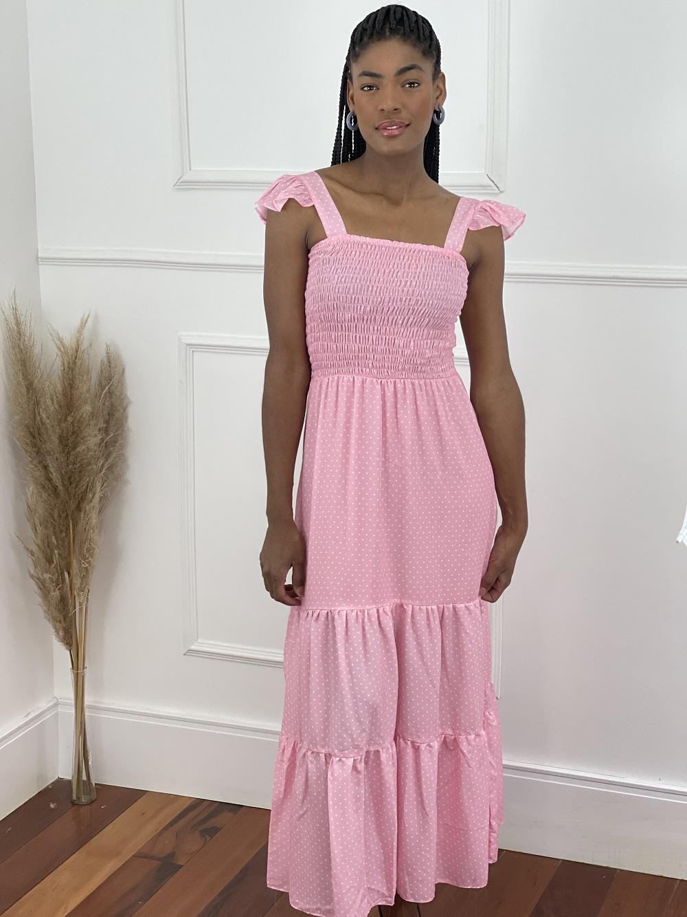 Vestido Max Midi Lastex Poá Rosa
