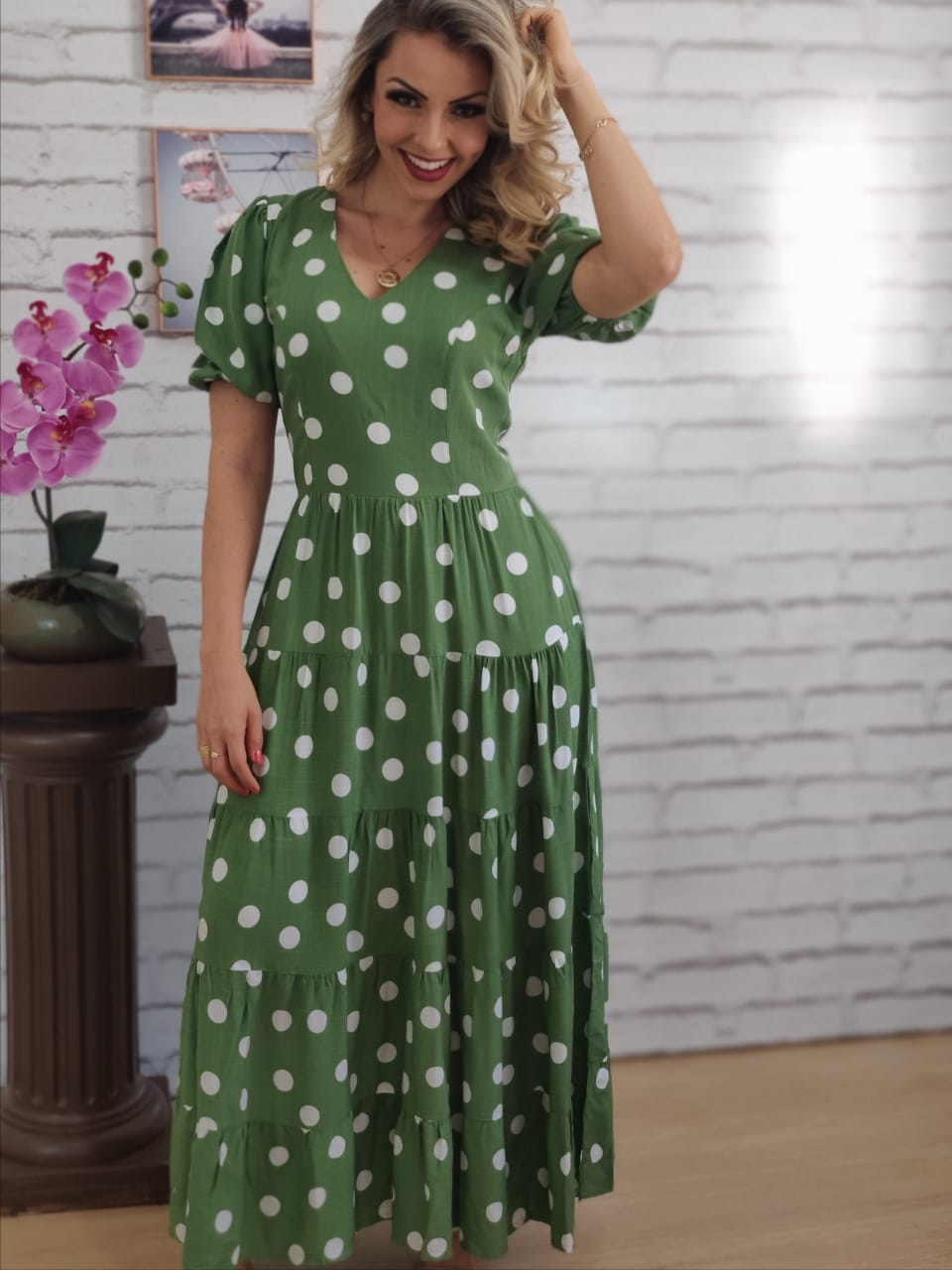Vestido Max Midi Poá Verde