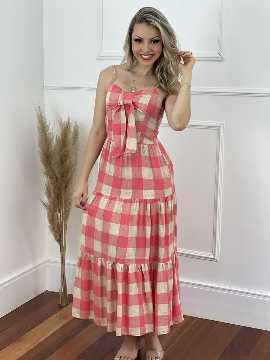 Vestido Max Midi Xadrez Rosa