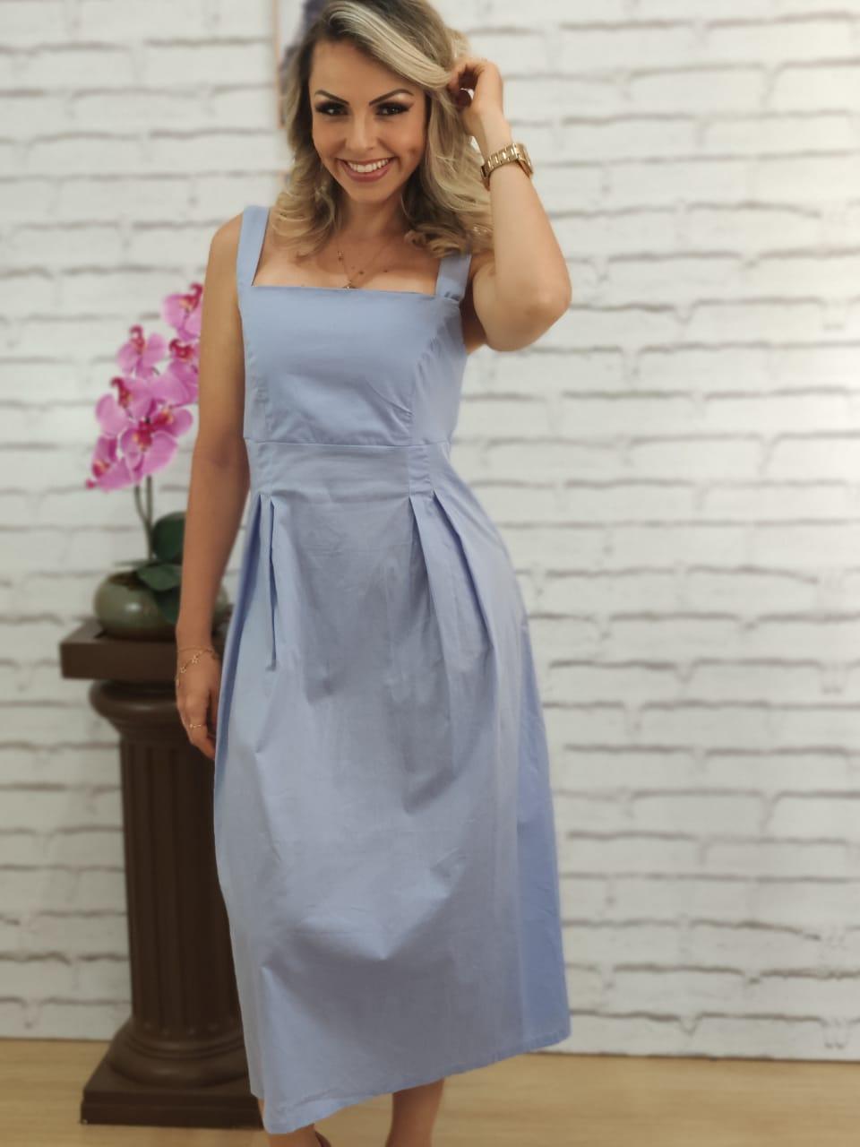 Vestido Midi Alça Larga Azul