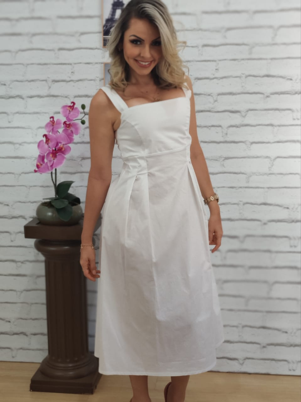 Vestido Midi Alça Larga Branca