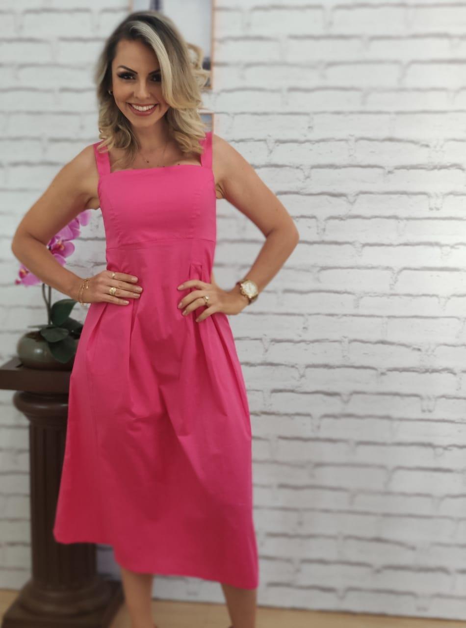 Vestido Midi Alça Larga Pink