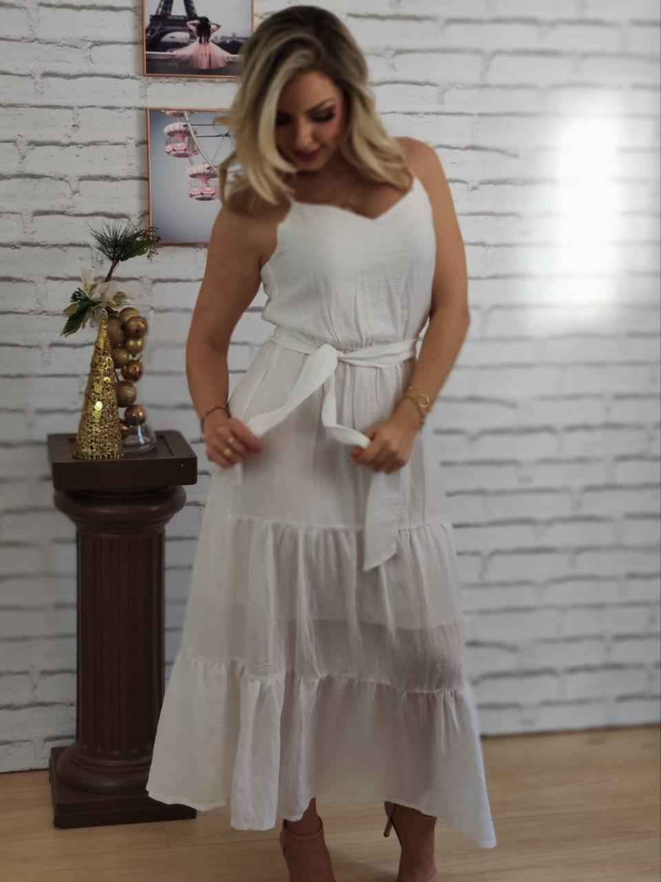 Vestido Midi Babado Liso Branco